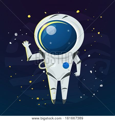 Astronaut in a spacesuit in the open space, vector illustration