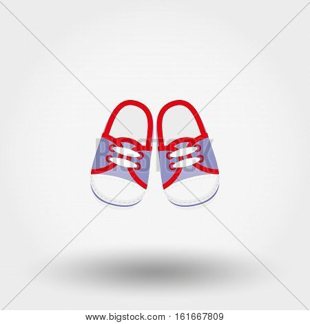 Booties sneakers. Baby shoes. Icon for web and mobile application. Vector illustration on a white background. Flat design style.