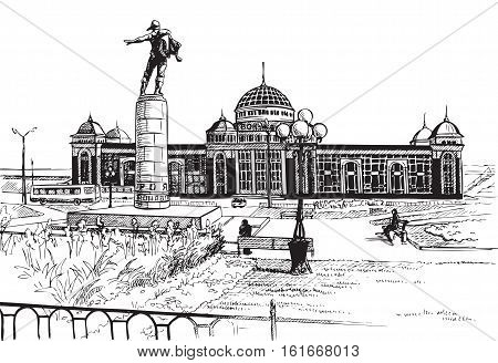 Hand drawing on white background Saransk train station of the city skyline. The monument to the heroes of the stratosphere.