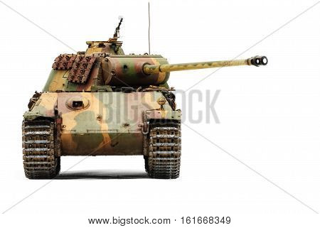 German tank Panther in World War II. Isolated over white background
