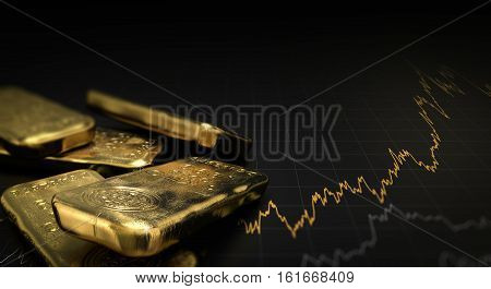 3D illustration of gold ingots over black background with a chart. Financial concept horizontal image.