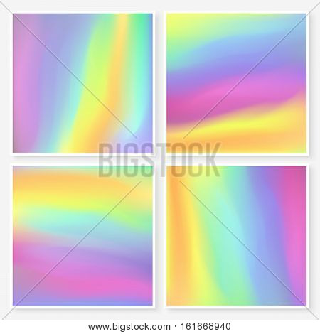 Holographic Backgrounds Set Square Textures Bright