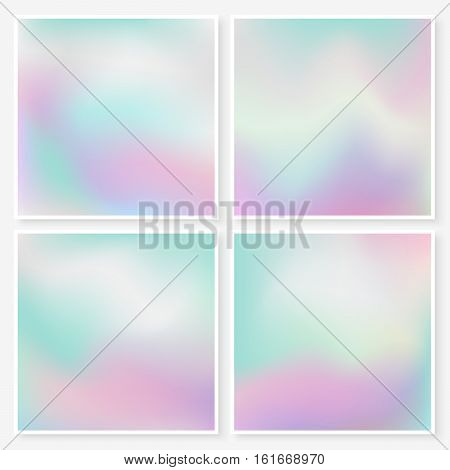 Holographic backgrounds set. Pastel smooth colors textures. Hipster style backdrops collection. Trendy vector illustrations for web design or printed products.