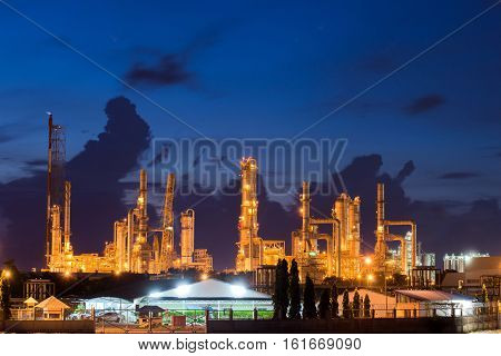 Landscape of oil refinery industry or petroleum industry with oil storage tank in Chonburi Thailand.