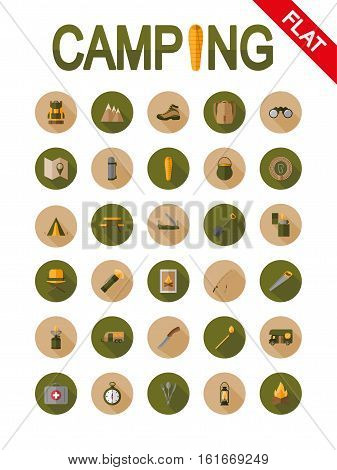 Camping. Icon set for web and mobile application. Vector illustrations on a buttons with a long shadow. Flat design style.