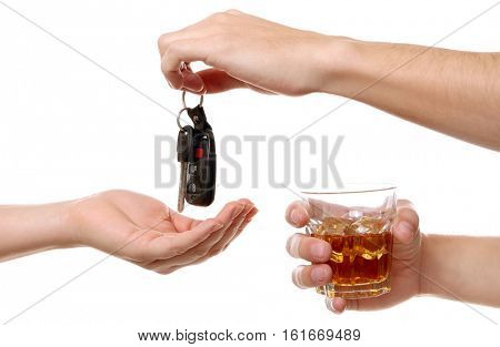 Drunk man giving car key to woman, on white background. Don't drink and drive concept