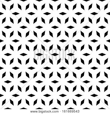 Vector seamless pattern, simple geometric ornament, endless monochrome black & white texture. Lattice mosaic background. Design for prints, decoration, digital, cover, textile, fabric, furniture, web