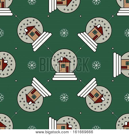 Vector seamless pattern with Christmas snowglobe for Christmas holidays and New Year 2017. Vector illustration for Merry Christmas and Happy New Year print design.