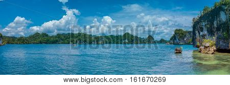 Rocks Landscape in Kabui Bay near Waigeo. West Papuan, Raja Ampat, Indonesia. Banner