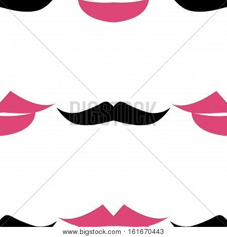 Lips and mustache seamless pattern. Pink lips kiss and black mustache. Vector illustration