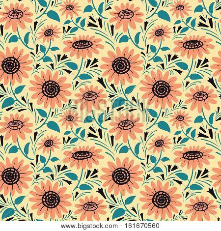 Decorative vector sunflowers seamless pattern. Summer flowers background. Fashion style floral colorful wallpaper.