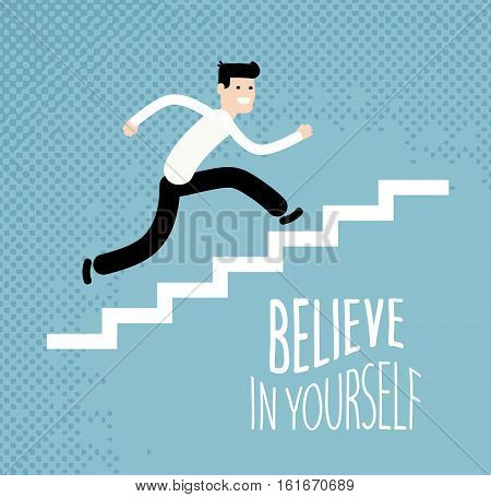 Business or education concept. Businessman running up stairs. Vector illustration