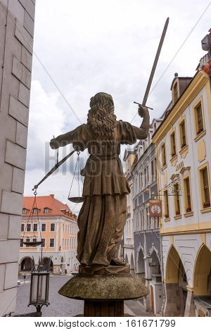 Sculpture of Lady Justice (Justitia) from 1591 at the old town of Goerlitz