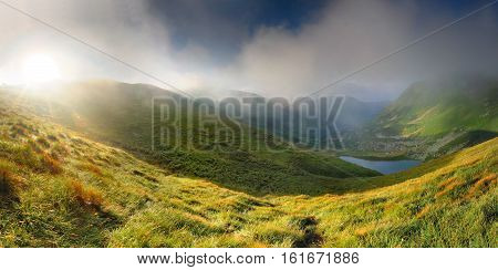 Fantastic Mountain Landscape. Mountains, Blue Sky, Verdure.