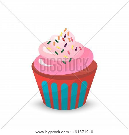 Sweet food chocolate cake. Creamy cupcake isolated on white. Bakery cupcake with cherry. Vector illustration candy concept