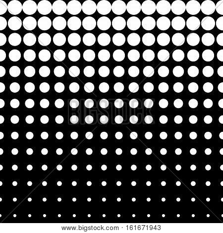 Vector monochrome seamless pattern, different sized circles & dots, vertical rows, black & white halftone transition. Modern stylish texture. Design for prints, stamping, decor, web, digital, textile