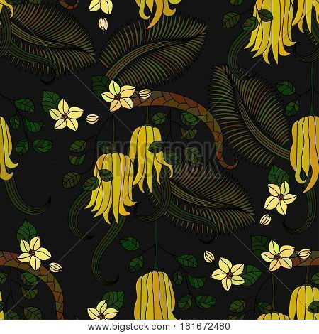 Seamless pattern with tropical plants, flowers and citron Buddha s hand . Vector illustration.