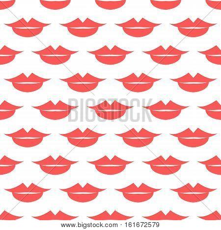Lips Seamless pattern. White background. Vector illustration