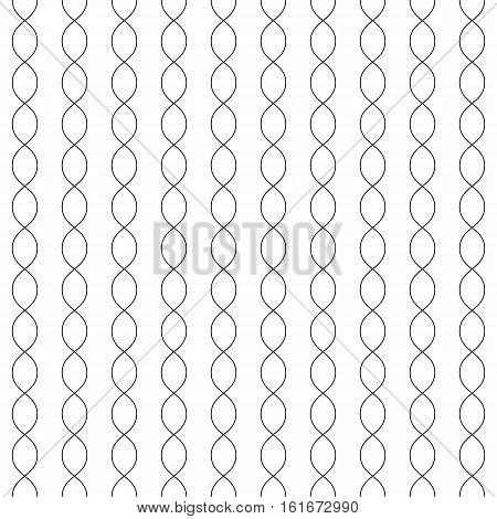 Vector monochrome seamless pattern, black thin curved lines on white background, subtle vertical chains. Simple minimalist endless texture. Design element for prints, decoration, digital, textile, web
