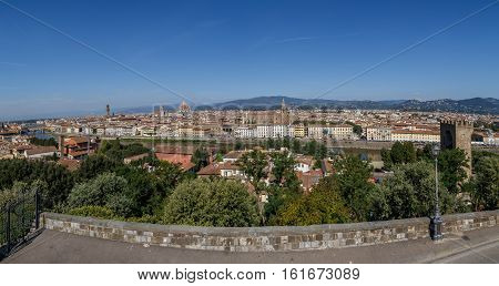 Florence, the view from the observation platform on the Piazzale Michelangelo