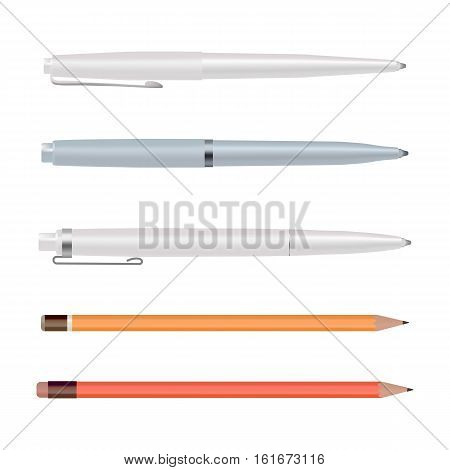Pens and pencils isolated on white background, ballpoint pen, lead orange dot pencil with red rubber eraser, flat style stationery set. Cartoon design. Vector illustration eps10