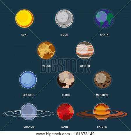 Collection of planets on dark background. Outer space with elements of the galaxy. Set planets of the solar system. 3d icons planet in flat cartoon style. Vector illustration