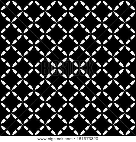 Vector seamless pattern. Simple geometric black & white texture, illustration of diagonal lattice, monochrome abstract dark repeat background. Design element for prints, digital, textile, identity