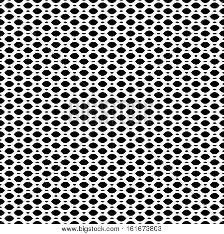 Vector seamless pattern, simple black & white geometric texture, monochrome illustration of mesh, lattice, tissue. Endless abstract background. Design element for prints textile digital, decoration, identity, web