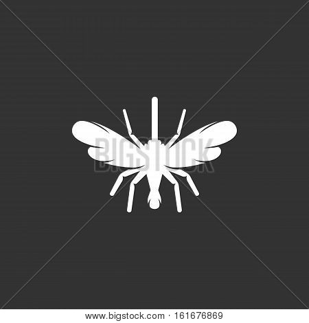 Mosquito vector logo isolated on a black background. Icon silhouette design template. Simple symbol concept in flat style. Abstract sign, pictogram for web, mobile and infographics