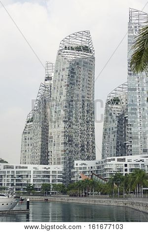 Singapore - 01 November 2014: Famous popular Reflections at Keppel Bay by Daniel Libeskind