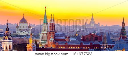 Evening Moscow View of the Moscow Kremlin the Cathedral of Christ the Saviour and the University. Russia