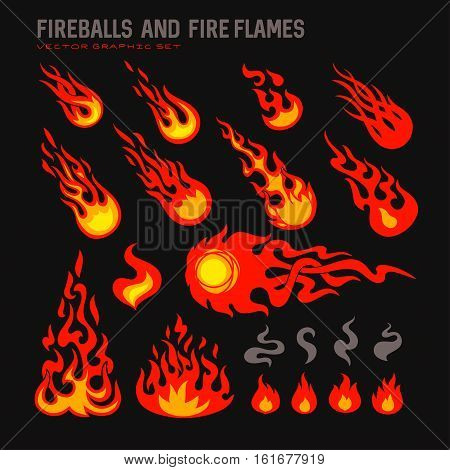 fireballs and flames icons set, isolated vector graphic illustration on black background