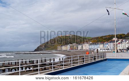 Looking towards Constitution Hill Aberystwyth an historic market town administrative centre and holiday resort within Ceredigion West Wales. It is located near the confluence of the rivers Ystwyth and Rheidol.