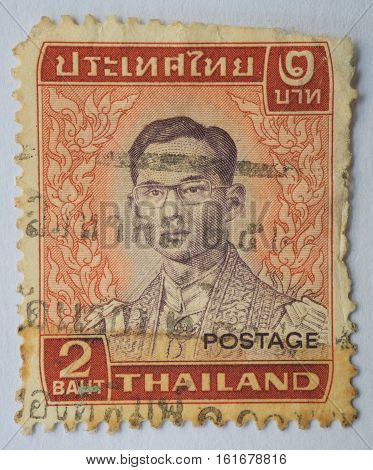 THAILAND - CIRCA 1972: A stamp printed in Thailand shows King Bhumibol Adulyadej circa 1972 2 Baht