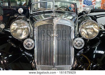 GERMANY, SINSHEIM - NOVEMBER 6, 2016. Oldtimer Horh car close up on November 6 2016 in Sinsheim, Germany