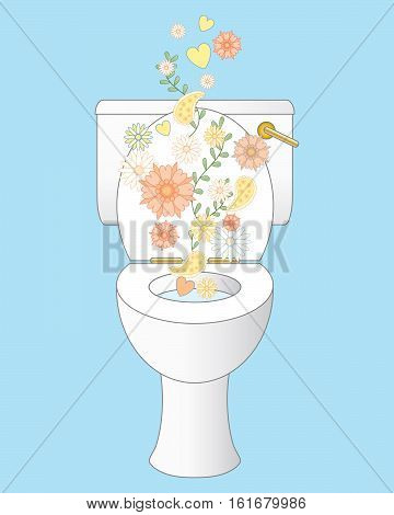 an illustration of a sparkling white clean ceramic toilet with freshness represented by flowers and foliage on an ice blue background