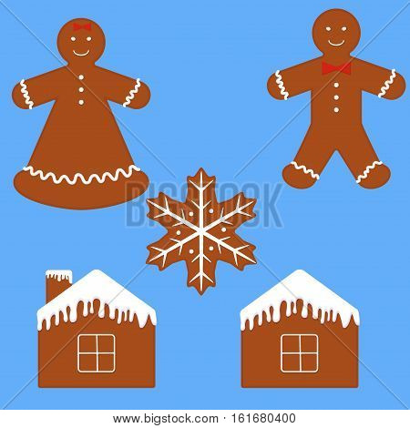 Gingerbread man cookie set. Funny cartoon gingerbread isolated on blue