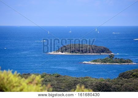 some islands in blue ocean in croatia