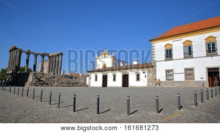 EVORA, PORTUGAL - OCTOBER 8, 2016: Roman ruins of Diana's Temple and the chapel of Saint John the Evangelist