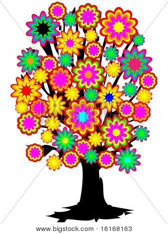 (raster image of vector) Colorful tree