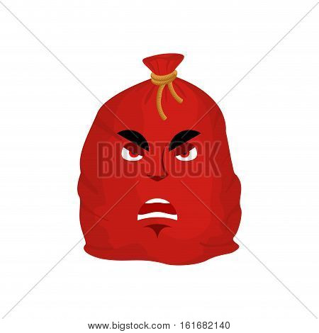 Santa Bag Angry Emotion. Red Christmas Sack With Gift Emoji. Sackful Of Gifts Isolated