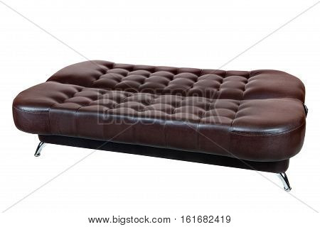 Convertible Sofa Bed Faux Leather with dark brown color isolated on white background include clipping path. poster