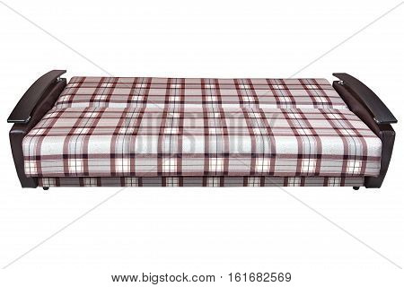 When folded modern checkered fabric sofa bed 2 seater isolated on white background include clipping path.