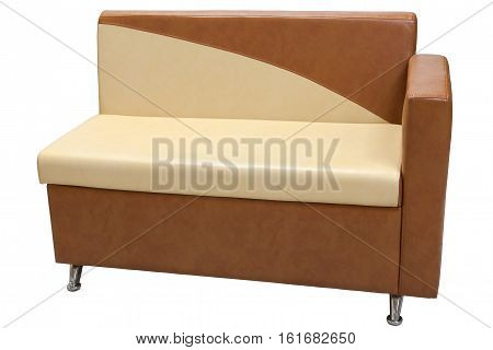 leatherette dining bench with light brown color isolated on white background include clipping path.