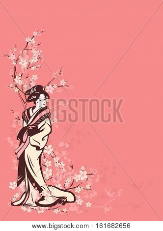 spring season vector vertical background with beautiful Japanese geisha among sakura tree flowers