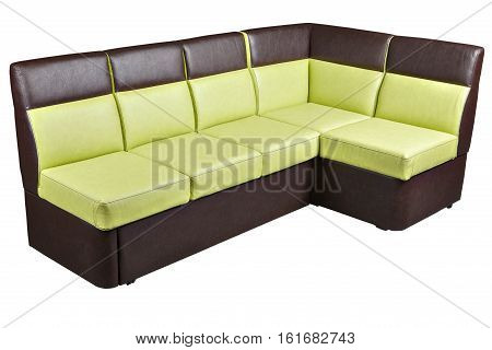 Folded Modern Leather Sectional Sleeper Sofa brown and yellow colored isolated on white background include clipping path. poster