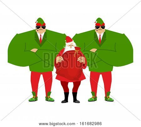 Santa Claus And Elves Bodyguards. Christmas Santa And Guards. Protecting Gifts For New Year. Defende