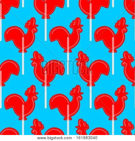 Cockerel Candy Seamless Pattern. Caramel Background. Sweet Christmas Ornament. Lollipop Rooster Sign