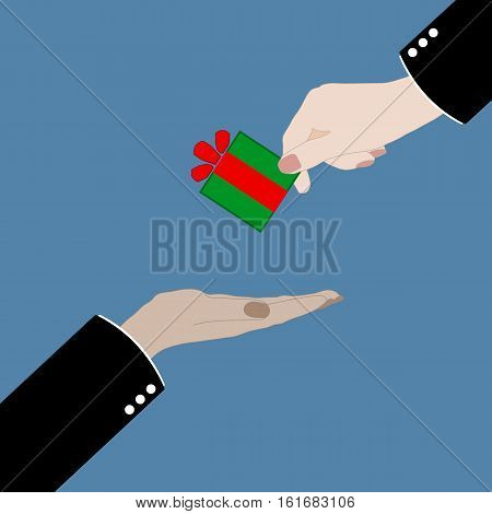 Hand giving gift box to another hand. Gifting and receiving gift concept. Flat style