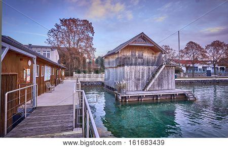 Boathouse In Seewalchen At Lake Attersee